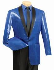 Shiny Flashy Sharkskin Metallic Sapphire Blue Sequin Formal Royal Color Tuxedo Shawl
