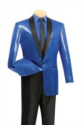 Satin Shiny Sequin Dinner Jacket Stage Blazer Coat Shawl Collar Flashy Shiny Suit Blue