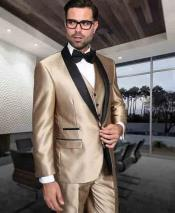 Gold ~ Champagne And Black Lapel 3 Piece Shiny Tuxedo Shawl Lapel Vested Suit