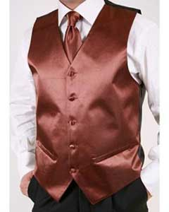 Brown 2-piece Dress Tuxedo Wedding Vest ~ Waistcoat ~ Waist coat