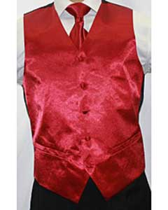 Shiny Burgundy ~ Maroon ~ Wine Color Microfiber 3-piece Dress Tuxedo Wedding Vest