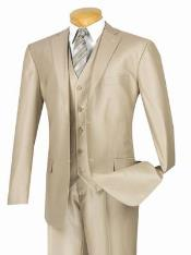 Gloss Shiny Sharkskin MetallicSuit champagne