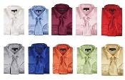 Shiny Satin Dress Shirt Set w/ Tie And Handkerchief Multi-color Mens Dress Shirt
