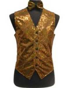 Shiny Sequin Dress Tuxedo Wedding Vest/bow tie set Gold
