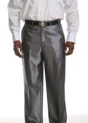 Front Dress Pants Mens Flat Front Trousers - Shinny Silver Pant