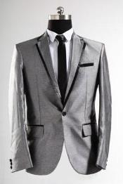 Shiny Flashy Sharkskin Silver Grey ~ Gray With Black Trim Tuxedo Suits Jacket Blazer