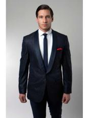 Floral Satin Shiny Black Lapel Two Toned Mens Tuxedo Dinner Jacket Blazer