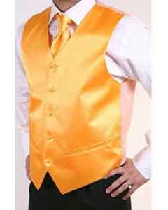 Orange 2-piece Dress Tuxedo Wedding Vest ~ Waistcoat ~ Waist coat Set Buy 10 of same color