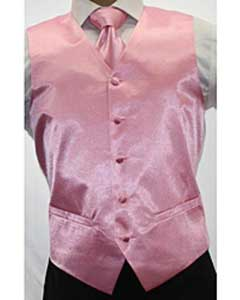 Shiny Pink Microfiber 3-piece Dress Tuxedo Wedding Vest ~ Waistcoat ~