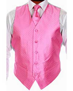 Four-piece Pink Dress Tuxedo Wedding Vest Set