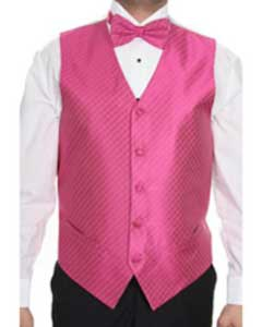Fuchsia ~ fuschia ~ hot Pink Patterned 4-piece Dress Tuxedo Wedding Vest ~ Waistcoat ~ Waist coat