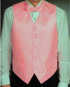 Pink Four-piece Dress Tuxedo Wedding Vest ~ Waistcoat ~ Waist coat