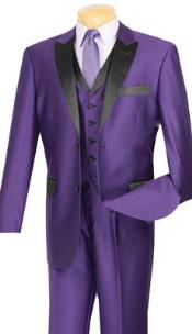 Lapeled Vested 3 Piece Shiny Sharkskin Purple With Black 2 Button Mens Tuxedo Suits
