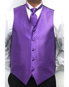 Four-piece Dress Tuxedo Wedding Vest ~ Waistcoat ~ Waist coat Set Purple Buy 10 of same color