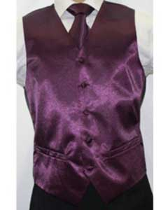 Shiny Dark Purple Microfiber 3-piece Dress Tuxedo Wedding Vest ~ Waistcoat