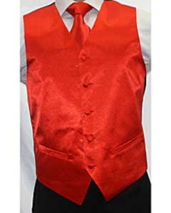Shiny Red Microfiber 3-piece Dress Tuxedo Wedding Vest
