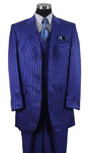 Rolyal Blue Pinstripe Vested 3 Piece Mens Dress Suits for Men