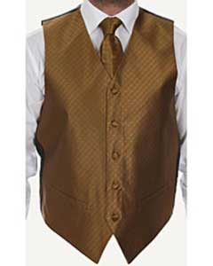 Four-piece Dress Tuxedo Wedding Vest ~ Waistcoat ~ Waist coat Set Rust Buy 10 of same color