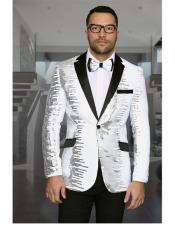 Mens Shiny Sequin 1 Button Notch Lapel White &amp Black Blazer ~ Black Dinner Jacket