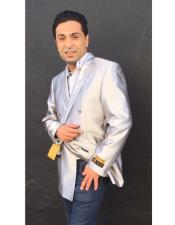 Nardoni Brand Mens Shiny Silver Double Breasted blazer ~ sport coat jacket(Wholesale) Advanced Pre Order To Ship