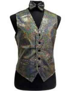 Shiny Sequin Dress Tuxedo Wedding Vest/bow tie set Silver Grey
