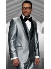 Shawl Lapel Statement Confidence 3 Piece Modern Fit Shiny Silver Tuxedo