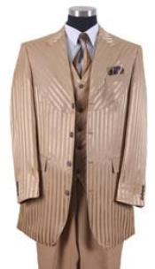Champagne Suit Tone On Tone Shiny Sharkskin Shadow Stripe ~ Pinstripe Vested