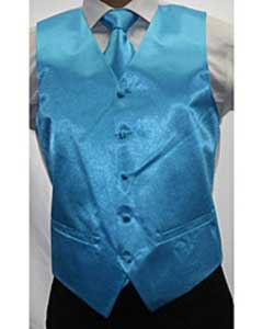 Shiny turquoise ~ Light Blue Stage Party Microfiber 3-piece Dress Tuxedo