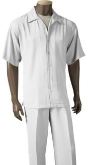 9356-02 Inserch Solid High Twist Yarn Microfiber Short Sleeve Set White