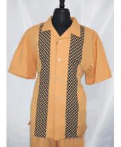 Mens 5 Buttons Short Sleeve Side Vents Rust Shirt Walking Leisure Suit