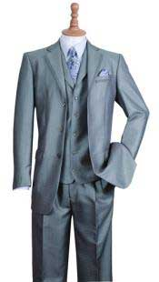 Silver 3 Button Notch Lapel Fashion Suit Edged Jacket w/ Pants Vest Set