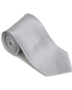 Silver 100% Silk Solid Necktie With