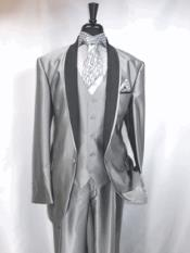 SKU#RA74  Mens Two Toned Tuxedo Trimmed Jacket And Suit Silver Grey