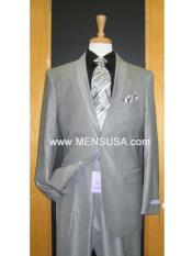 Mens Silver Grey Tux ~ Black Lapel Gray Tuxedo Wedding Groom Suit