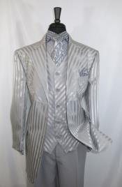 Mens Double Pleated Pants Matching Tone on Tone Satin Stripe Vest