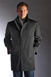 "Germain Water-Repellent Single Breasted 34"" length Car Coat Black"