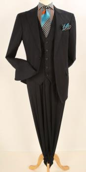 Apollo King Single Breasted Fashion Suit Black
