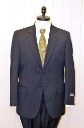 Button Single Breasted Wool Suit Dark Navy Blue Suit For Men Stripe ~ Pinstripe