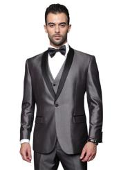 Two Toned Lapel Single Breasted Solid Tuxedo Suit Grey