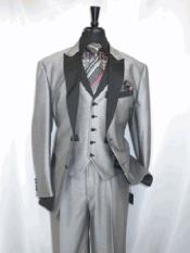 Mens Single Breasted Peak Sateen Lapel Two Toned Tuxedo Suit Jacket SharkSkin Grey