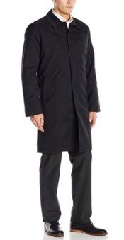 Andre Lanzino Removable Liner with Single Breasted 3/4 Raincoat Jacket Black