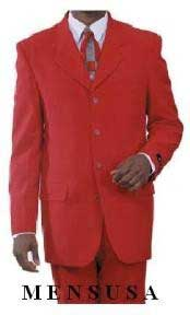 Single Breasted Mens Red Fashion Dress With Nice Cut Smooth Soft