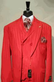 Peaked Lapel Fabric Red Suit