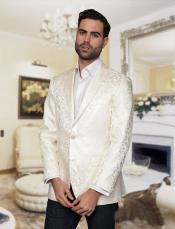Big and Tall Single Breasted White Blazer Sport coat Jacket Tuxedo Looking Paisley floral Patter