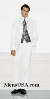 Single Breasted EXTRA FINE HAND MADE White Tuxedo Dress Suit