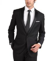 Fit Tuxedo Single Button Black Skinny Tapered Fit