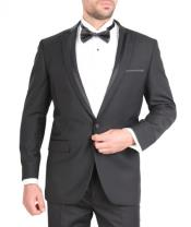 Fit Tuxedo Single Button Stripe Lapel Black Skinny Tapered Fit