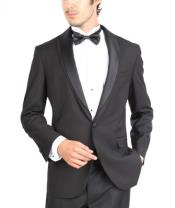 Fit Tuxedo Single Button Shawl Lapel Tuxedo Black Skinny Tapered Fit
