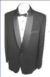 Black single button shawl collar tuxedo jacket and pants with besom pocket