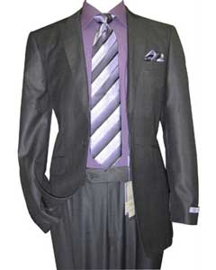 1 Button Peak Lapel Sharkskin Charcoal Wool and Silk Blend Flat Front